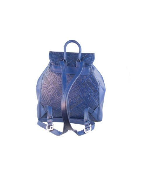 BORSA DONNA LOVE MOSCHINO BLUE ZAINETTO EMBOSSED PU