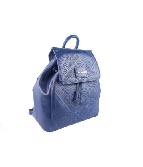 BORSA DONNA LOVE MOSCHINO BLUE ZAINETTO EMBOSSED