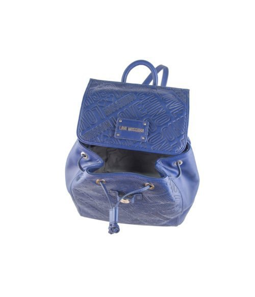 BORSA DONNA LOVE MOSCHINO BLUE ZAINETTO EMBOSSED BLU