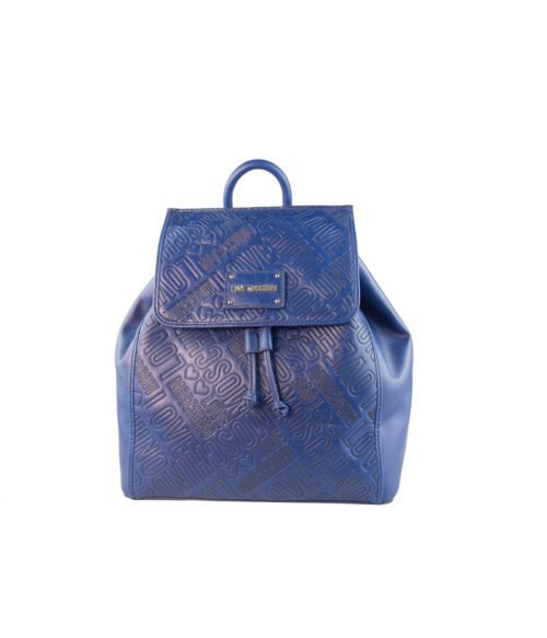 BORSA DONNA LOVE MOSCHINO BLUE ZAINETTO EMBOSSED PU BLU