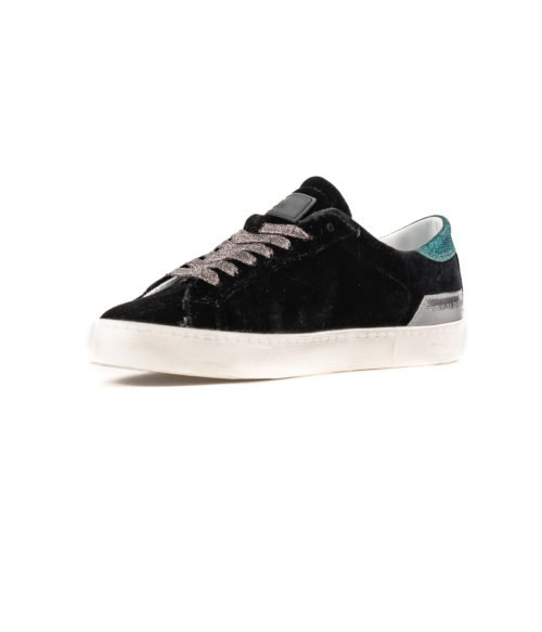 SNEAKERS DONNA D.A.T.E. HILL LOW VELVET BLACK W291-HL-VE-BK