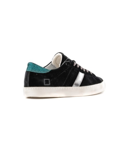 SNEAKERS DONNA D.A.T.E. NERA HILL LOW VELVET BLACK W291-HL-VE-BK