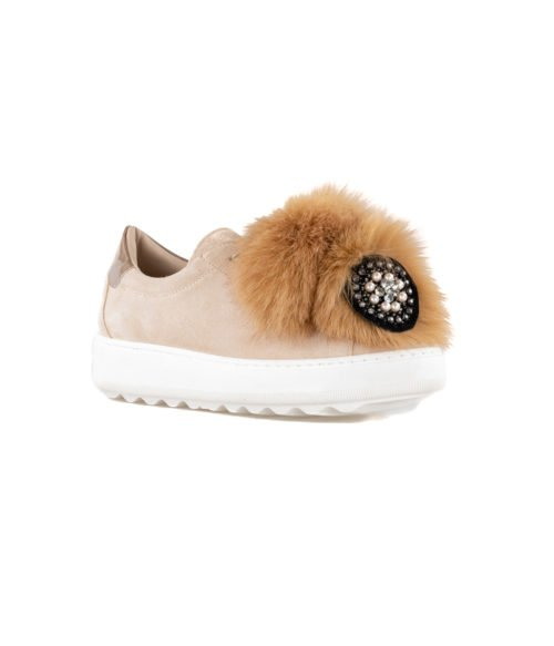 SNEAKERS DONNA PHILIPPE MODEL BEIGE VBLD PP01 PON PON MADE IN ITALY