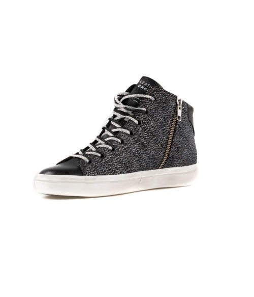 SNEAKERS DONNA LEATHER CROWN NERA VELVET LAME CERVO W133