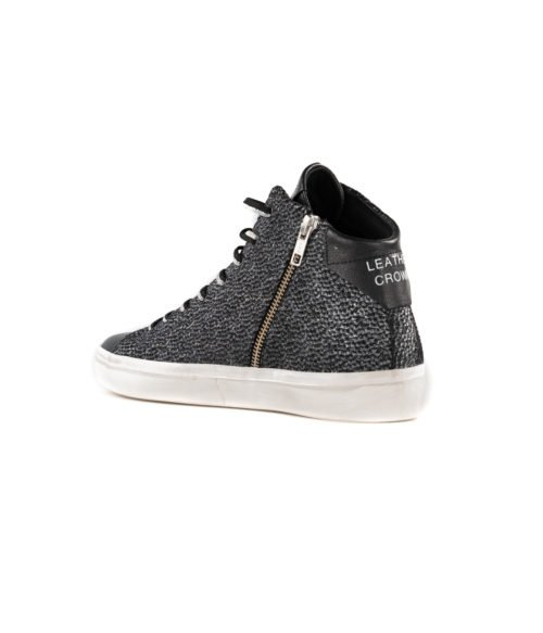 SNEAKERS DONNA LEATHER CROWN NERA VELVET LAME CERVO