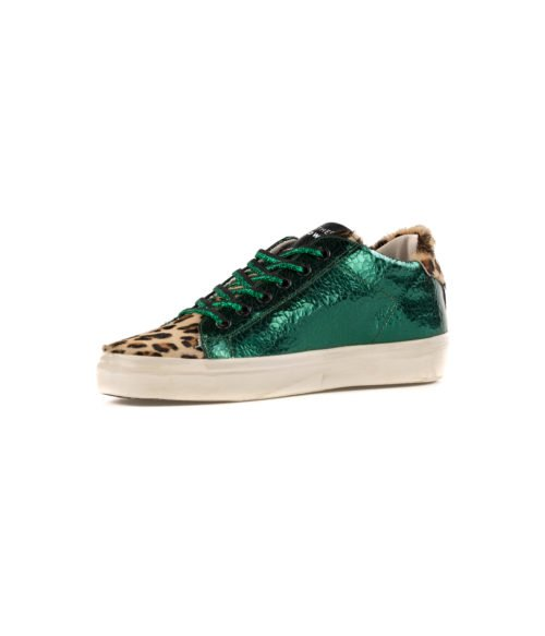 SNEAKERS DONNA LEATHER CROWN VERDE LAME LEOPARD