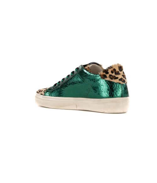 SNEAKERS DONNA LEATHER CROWN VERDE LAME LEOPARD MADE IN ITALY