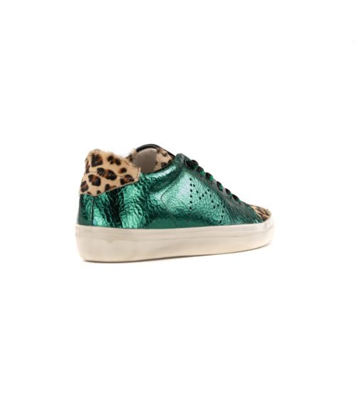 SNEAKERS DONNA LEATHER CROWN VERDE LAME LEOPARD W136