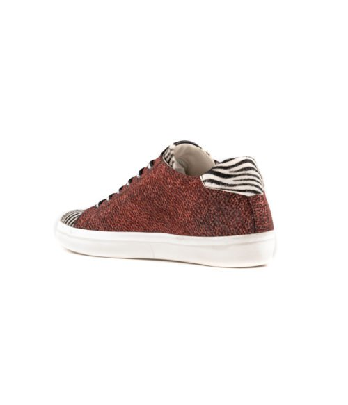 SNEAKERS DONNA LEATHER CROWN ROSSA VELVET LAME ZEBRA MADE IN ITALY