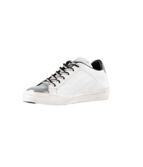 SNEAKERS DONNA LEATHER CROWN BIANCA PELLE MADE IN ITALY