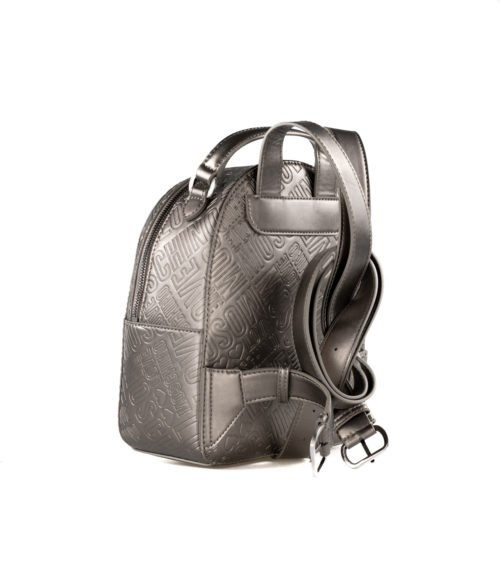 BORSA DONNA LOVE MOSCHINO GRIGIO ZAINETTO EMBOSSED METALLIC PELTRO