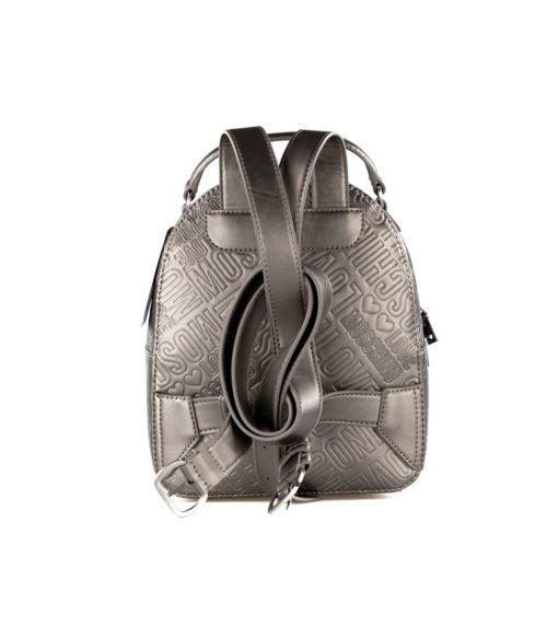 BORSA DONNA LOVE MOSCHINO GRIGIO ZAINETTO EMBOSSED METALLIC PU