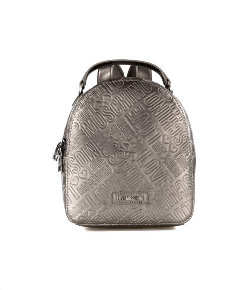 BORSA DONNA LOVE MOSCHINO GRIGIO ZAINETTO EMBOSSED METALLIC PU PELTRO