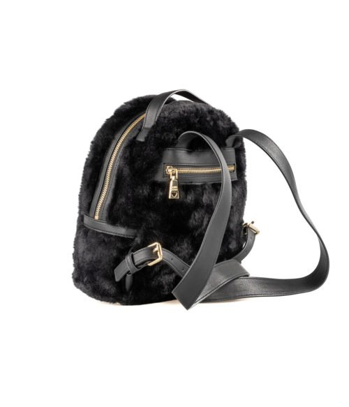 BORSA DONNA LOVE MOSCHINO NERO BLACK ZAINETTO PIN GRAIN PU