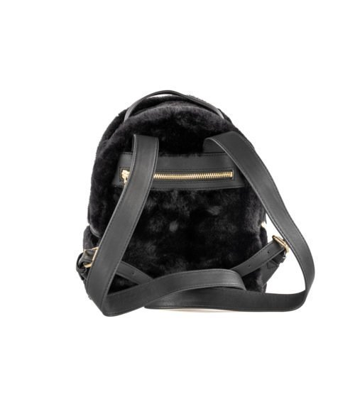 BORSA DONNA LOVE MOSCHINO NERO BLACK ZAINETTO PIN GRAIN PU FUR