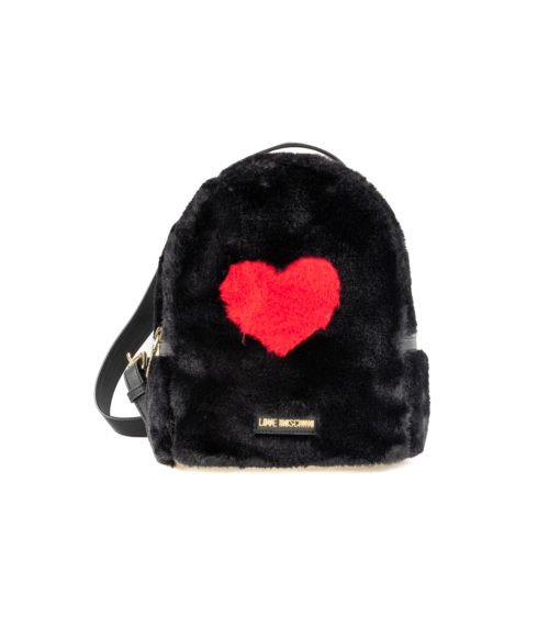 BORSA DONNA LOVE MOSCHINO NERO BLACK ZAINETTO PIN GRAIN PU FUR NERO