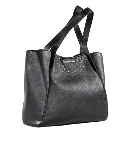BORSA DONNA LOVE MOSCHINO NERO ECOPELLE BORCHIE PEBBLE