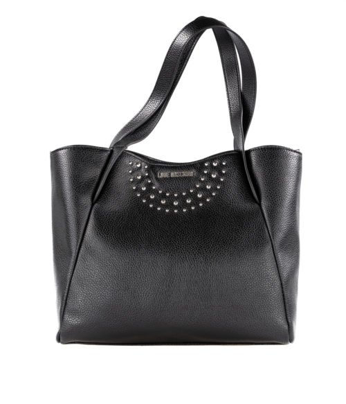 BORSA DONNA LOVE MOSCHINO NERO ECOPELLE BORCHIE PEBBLE PU NERO BLACK