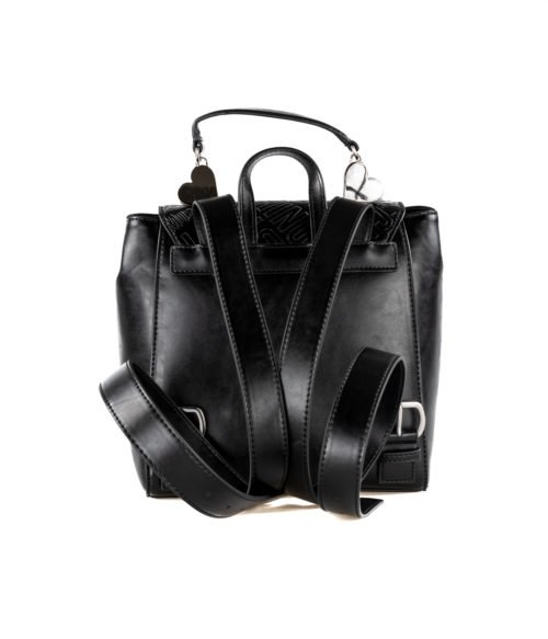 BORSA DONNA LOVE MOSCHINO NERO ZAINETTO EMBOSSED METALLIC