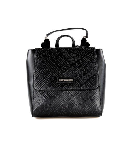 BORSA DONNA LOVE MOSCHINO NERO ZAINETTO EMBOSSED METALLIC PU NERO
