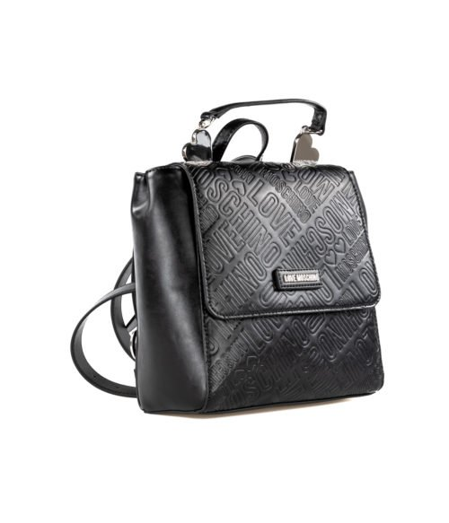 BORSA DONNA LOVE MOSCHINO NERO ZAINETTO EMBOSSED METALLIC PU NERO BLACK