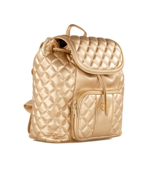 BORSA DONNA LOVE MOSCHINO ORO ZAINO QUILTED METALLIC NAPPA PU OR