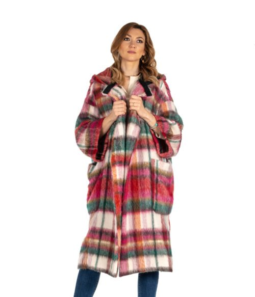 CAPPOTTO DONNA ATTIC AND BARN ROSA CHECK MULTICOLOR MOHAIR DUNDEE