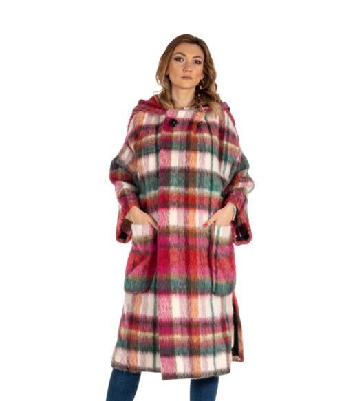 CAPPOTTO DONNA ATTIC AND BARN ROSA CHECK MULTICOLOR MOHAIR DUNDEE COAT