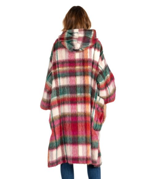CAPPOTTO DONNA ATTIC AND BARN ROSA CHECK MULTICOLOR MOHAIR DUNDEE COAT WOMAN