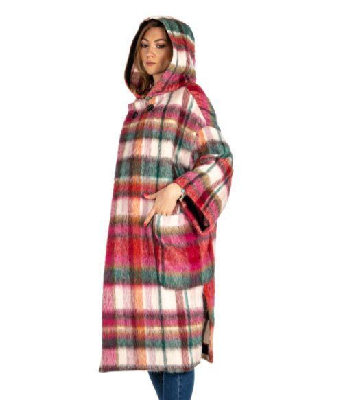 CAPPOTTO DONNA ATTIC AND BARN ROSA CHECK MULTICOLOR MOHAIR DUNDEE WOMAN COAT
