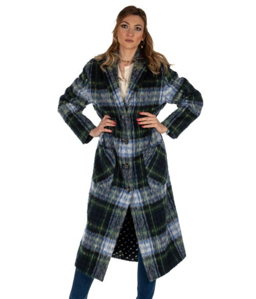 CAPPOTTO DONNA BOUTIQUE MOSCHINO BLU CHECK MOHAIR HA0612 MADE IN ITALY COAT