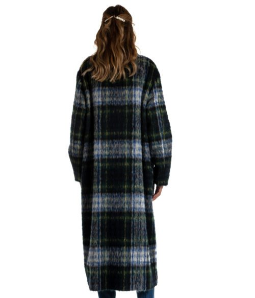 CAPPOTTO DONNA BOUTIQUE MOSCHINO BLU CHECK MOHAIR HA0612 MADE IN ITALY COAT WOMAN