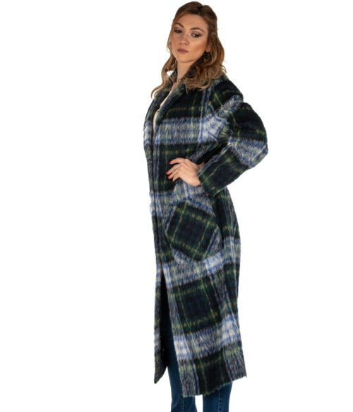 CAPPOTTO DONNA BOUTIQUE MOSCHINO BLU CHECK MOHAIR HA0612 MADE IN ITALY WOMAN COAT
