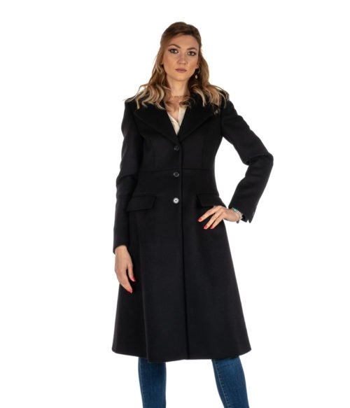 CAPPOTTO DONNA DONDUP NERO LUNGO SLIM FIT LANA DJ146 MADE IN ITALY