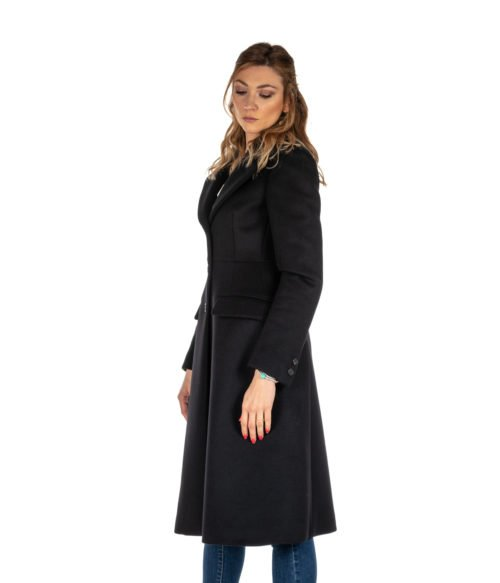 CAPPOTTO DONNA DONDUP NERO LUNGO SLIM FIT LANA DJ146 MADE IN ITALY BLACK COAT