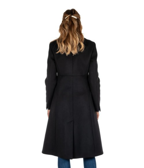 CAPPOTTO DONNA DONDUP NERO LUNGO SLIM FIT LANA DJ146 MADE IN ITALY BLACK WOMAN COAT
