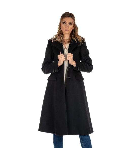 CAPPOTTO DONNA DONDUP NERO LUNGO SLIM FIT LANA DJ146 MADE IN ITALY COAT