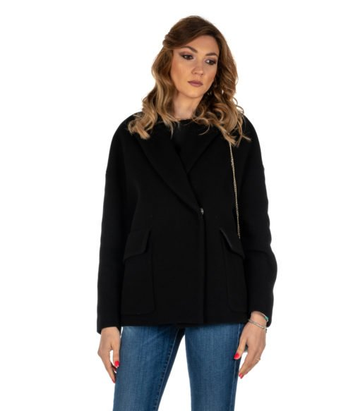 CAPPOTTO DONNA GOLD CASE NERO KABAN LANA BERTRAM PP953 MADE IN ITALY