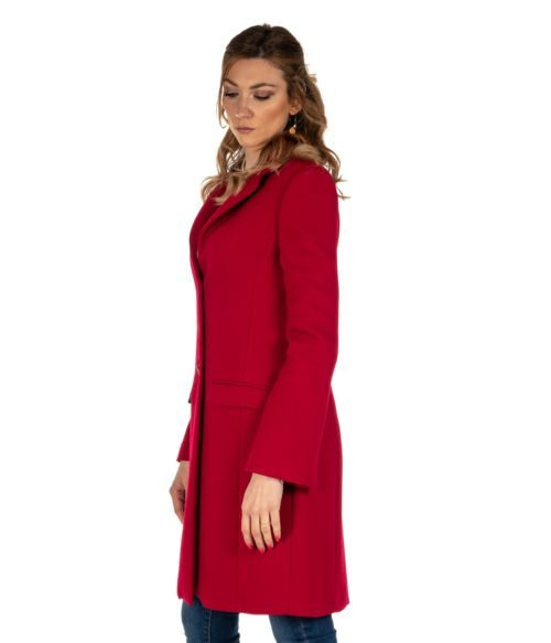 CAPPOTTO DONNA MERCI' ROSSO CILIEGIA LANA H108D MADE IN ITALY RED COAT
