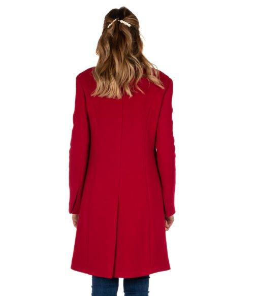 CAPPOTTO DONNA MERCI' ROSSO CILIEGIA LANA H108D MADE IN ITALY WOMAN RED COAT