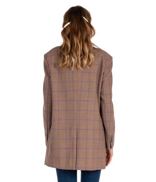 GIACCA DONNA ATTIC AND BARN BEIGE FANTASIA CHECK LANA JACKET CARNABY BLAZER WOMAN