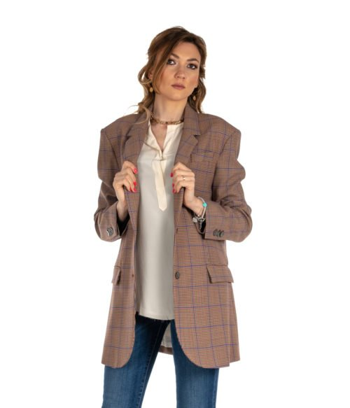 GIACCA DONNA ATTIC AND BARN BEIGE FANTASIA CHECK LANA JACKET CARNABY LONG JACKET