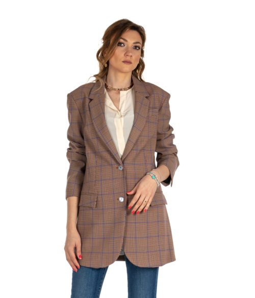 GIACCA DONNA ATTIC AND BARN BEIGE FANTASIA CHECK LANA JACKET CARNABY WOMAN BLAZER