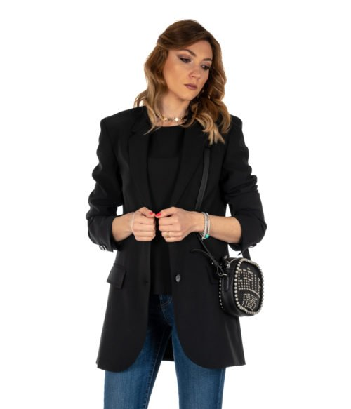 GIACCA DONNA ATTIC AND BARN NERO GIACCA LANA LONG JACKET BLACK CARNABY
