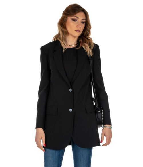 GIACCA DONNA ATTIC AND BARN NERO GIACCA LANA LONG JACKET BLACK CARNABY BLAZER