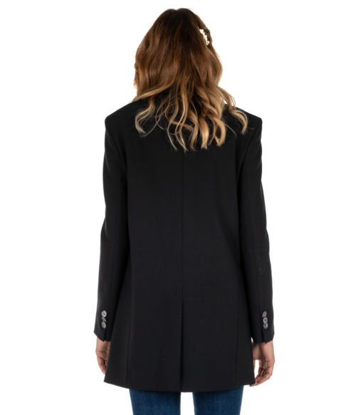 GIACCA DONNA ATTIC AND BARN NERO GIACCA LANA LONG JACKET BLAZER BLACK CARNABY