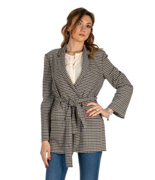 GIACCA DONNA GOLD CASE BEIGE FANTASIA CHECK LANA WILL MADE IN ITALY BLAZER