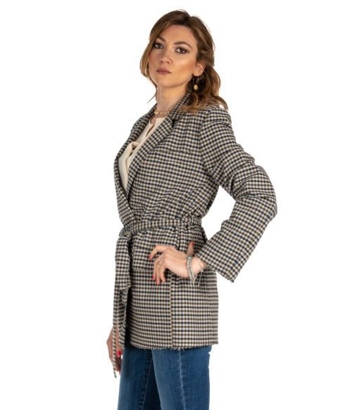 GIACCA DONNA GOLD CASE BEIGE FANTASIA CHECK LANA WILL MADE IN ITALY BLAZER WOMAN