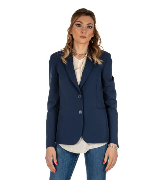 GIACCA DONNA HANITA BLU BLAZER LUNGO H.J534.13 MADE IN ITALY