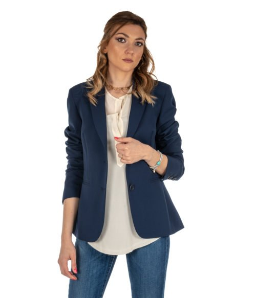 GIACCA DONNA HANITA BLU BLAZER LUNGO H.J534.133 MADE IN ITALY